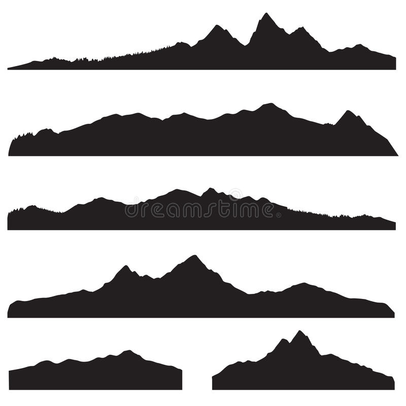 Σύνολο σκιαγραφιών τοπίων βουνών Υψηλά μέγιστα σύνορα βουνών ελεύθερη απεικόνιση δικαιώματος