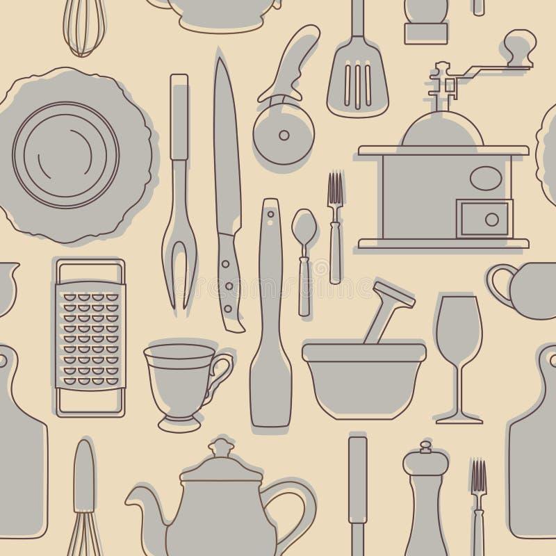 Σύνολο σκιαγραφιών των εργαλείων κουζινών κόκκινος τρύγος ύφους κρίνων απεικόνισης επίσης corel σύρετε το διάνυσμα απεικόνισης απεικόνιση αποθεμάτων