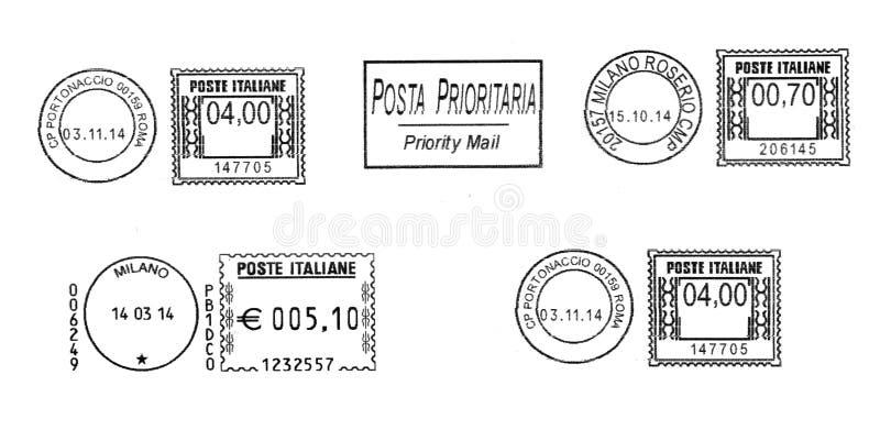 Σύνολο σκοτεινών ιταλικών ταχυδρομικών σφραγίδων ελεύθερη απεικόνιση δικαιώματος