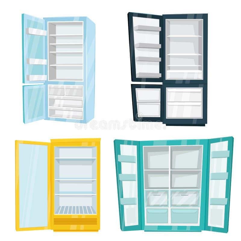 Σύνολο σπιτιού και εμπορικών διανυσμάτων ψυγείων απεικόνιση αποθεμάτων