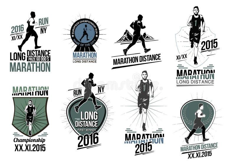 Σύνολο στα λογότυπα αθλητισμού, τις ετικέτες, τα εμβλήματα και τα στοιχεία σχεδίου Μεγάλης απόστασης τρέξιμο και ανταγωνισμός εμβ ελεύθερη απεικόνιση δικαιώματος