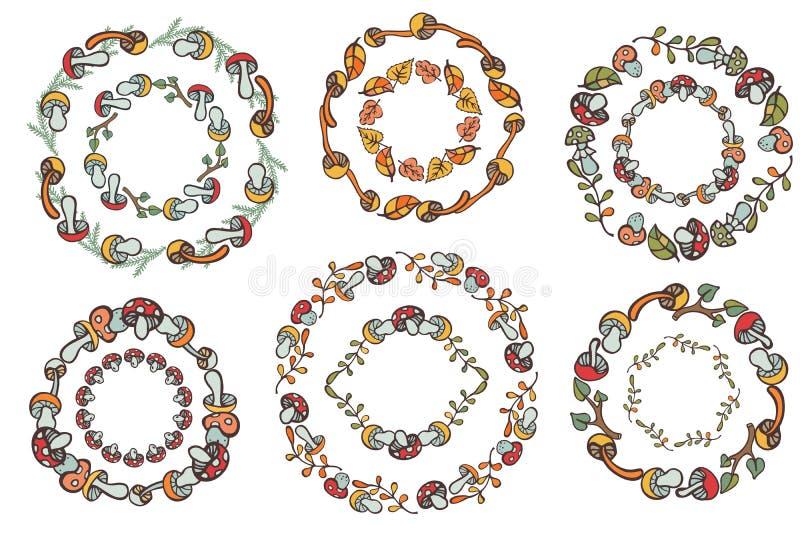 Σύνολο στεφανιών συγκομιδών Doodle Μανιτάρια, στοιχεία ντεκόρ διανυσματική απεικόνιση