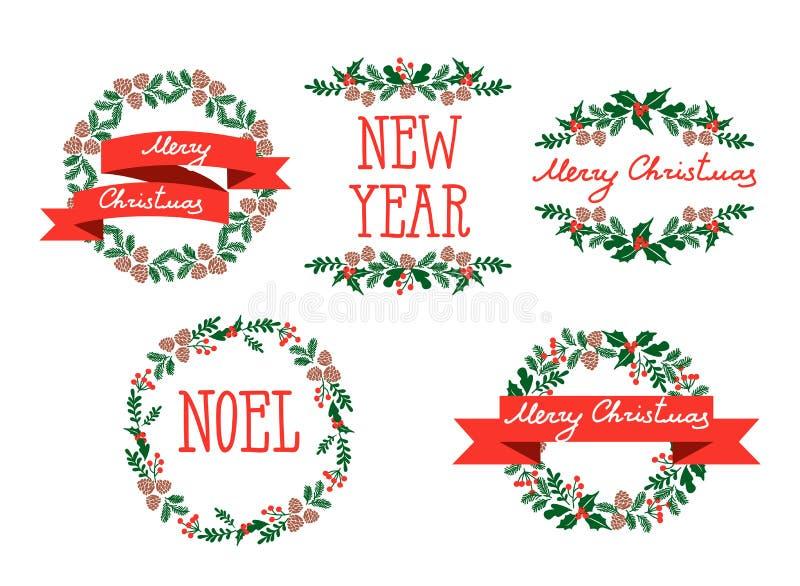 Σύνολο στεφανιών χειμερινών Χριστουγέννων, στοιχεία σχεδίου απεικόνιση αποθεμάτων