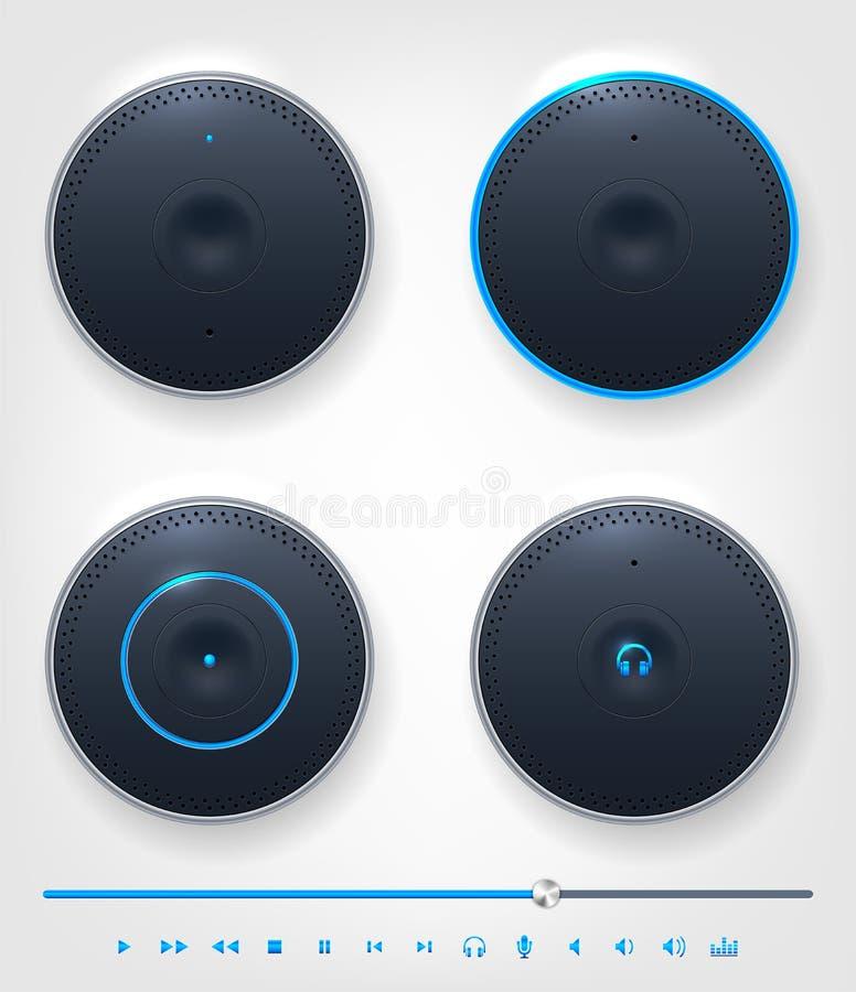 Σύνολο στιλπνών κουμπιού και εικονιδίων στο θέμα του ήχου απεικόνιση αποθεμάτων