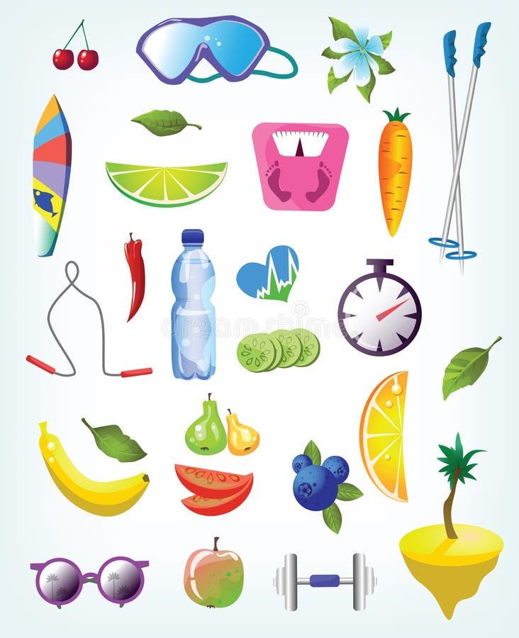 Σύνολο στοιχείων: αθλητική εξάρτηση και υγιή τρόφιμα. απεικόνιση αποθεμάτων