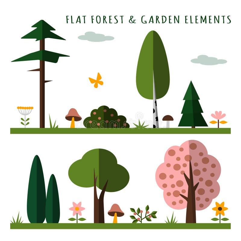 Σύνολο στοιχείων δασών και κήπων, επίπεδο σχέδιο, που απομονώνεται ελεύθερη απεικόνιση δικαιώματος