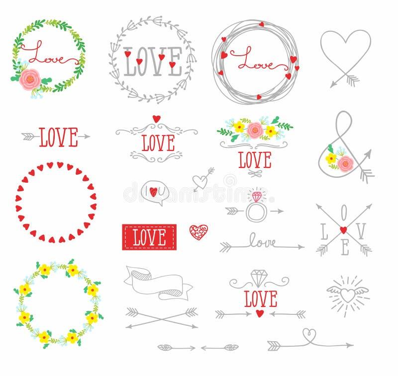Σύνολο στοιχείων για το σχέδιο - βέλη, καρδιές, αγάπη, κυκλίσκος των λουλουδιών απεικόνιση αποθεμάτων