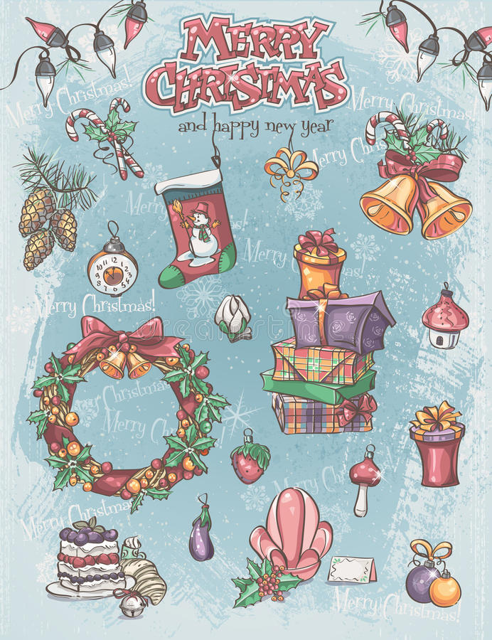 Σύνολο στοιχείων διακοπών Χριστουγέννων, καθώς επίσης και υπόβαθρο και greeti διανυσματική απεικόνιση