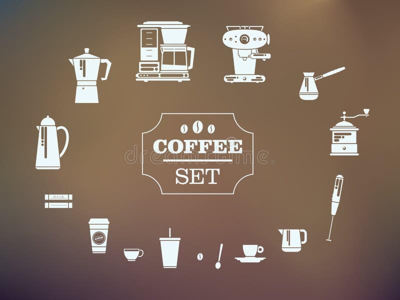Σύνολο στοιχείων καφέ και εξαρτημάτων καφέ Εικονίδια σκιαγραφιών απεικόνιση αποθεμάτων