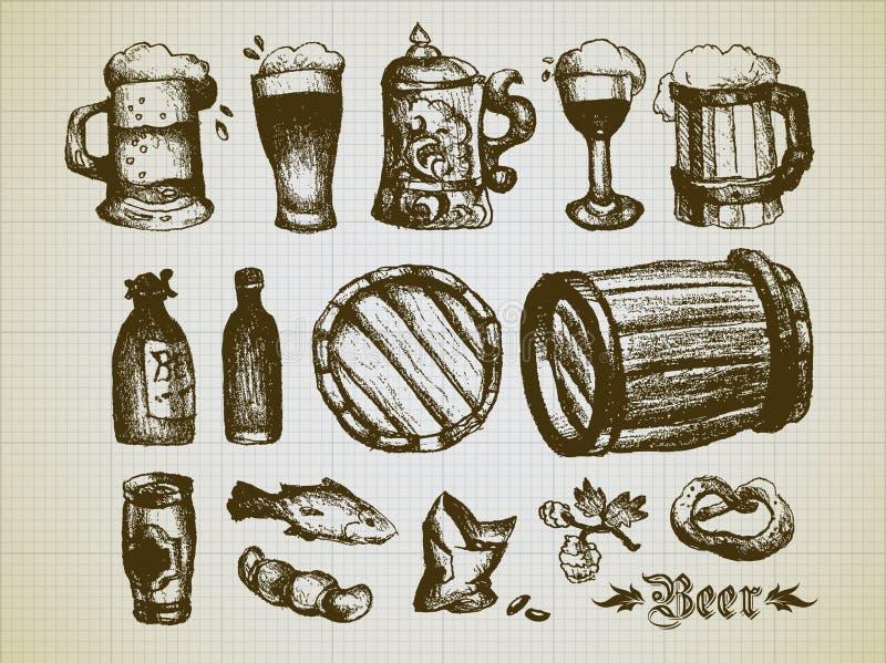 Σύνολο στοιχείων μπύρας απεικόνιση αποθεμάτων