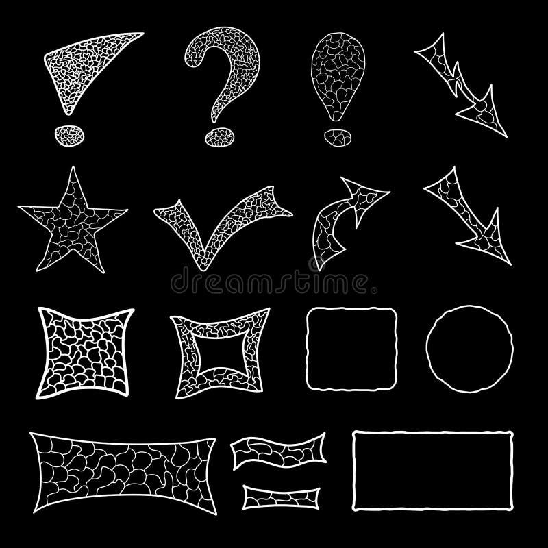 Σύνολο στοιχείων μωσαϊκών doodle ελεύθερη απεικόνιση δικαιώματος
