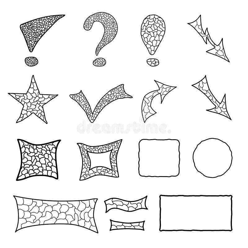 Σύνολο στοιχείων μωσαϊκών doodle διανυσματική απεικόνιση