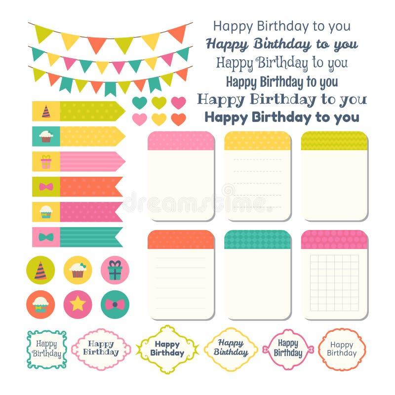 Σύνολο στοιχείων σχεδίου γιορτών γενεθλίων Πρότυπο για τα σημειωματάρια διανυσματική απεικόνιση