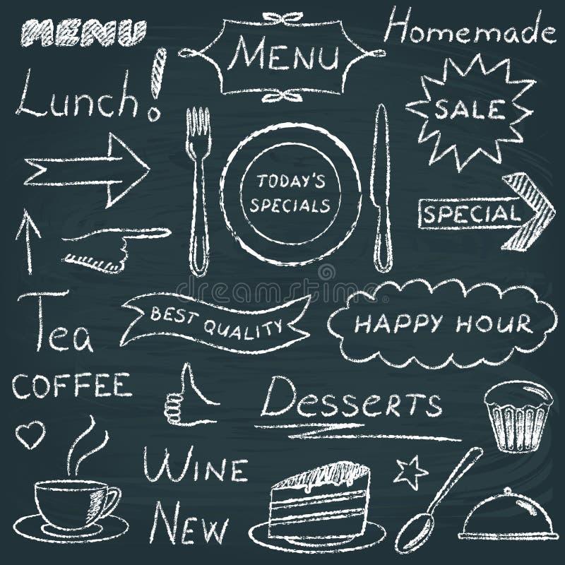 Σύνολο στοιχείων σχεδίου επιλογών εστιατορίων στοκ εικόνες