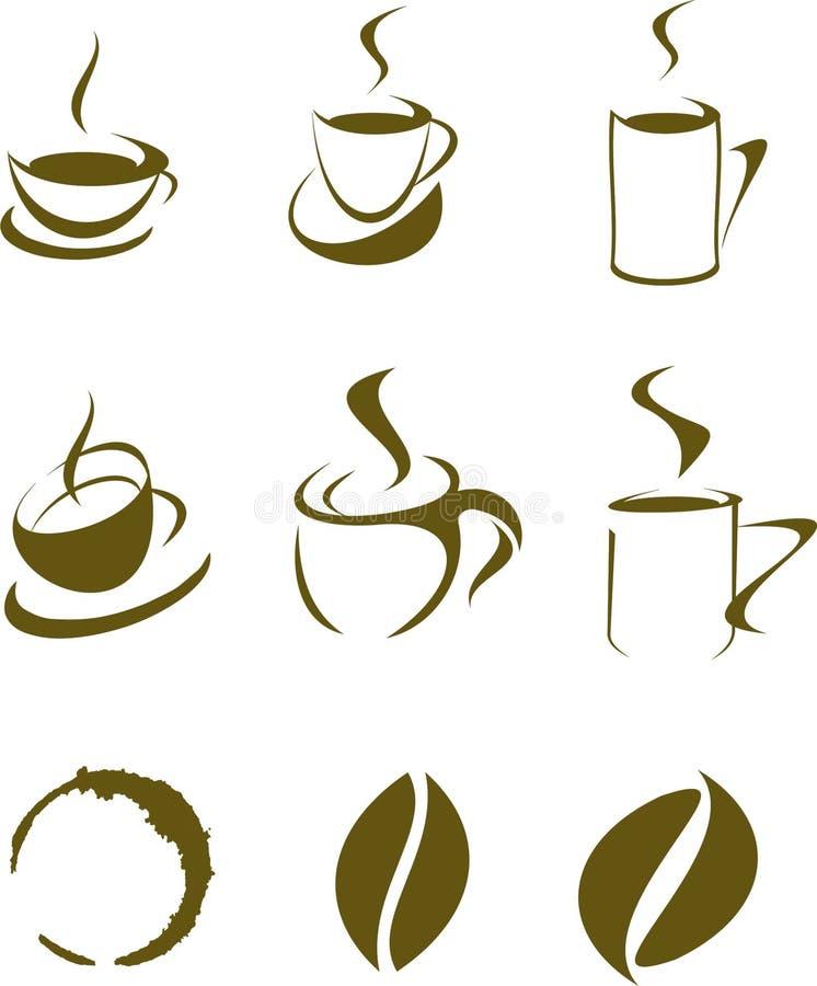 Σύνολο στοιχείων σχεδίου καφέ ελεύθερη απεικόνιση δικαιώματος