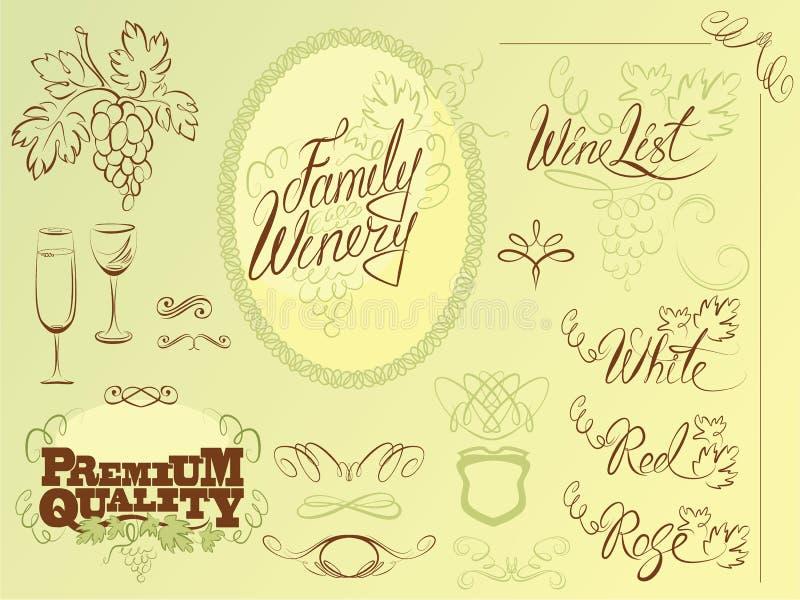 Σύνολο στοιχείων σχεδίου κρασιού για το φραγμό ή το εστιατόριο διανυσματική απεικόνιση