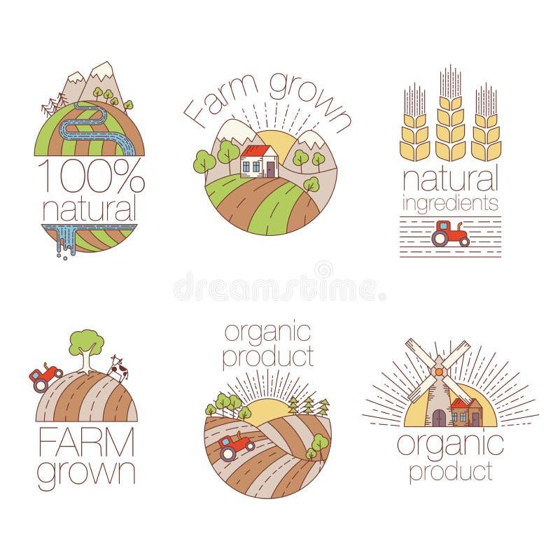 Σύνολο στοιχείων τέχνης περιλήψεων για τις ετικέτες και διακριτικών για τη οργανική τροφή και το ποτό Σύνολο ετικετών αγροτικών λ διανυσματική απεικόνιση