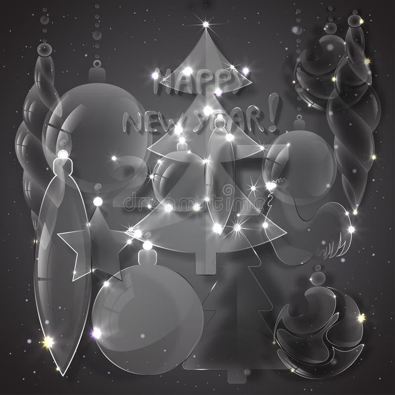 Σύνολο στοιχείων Χριστουγέννων γυαλιού ελεύθερη απεικόνιση δικαιώματος