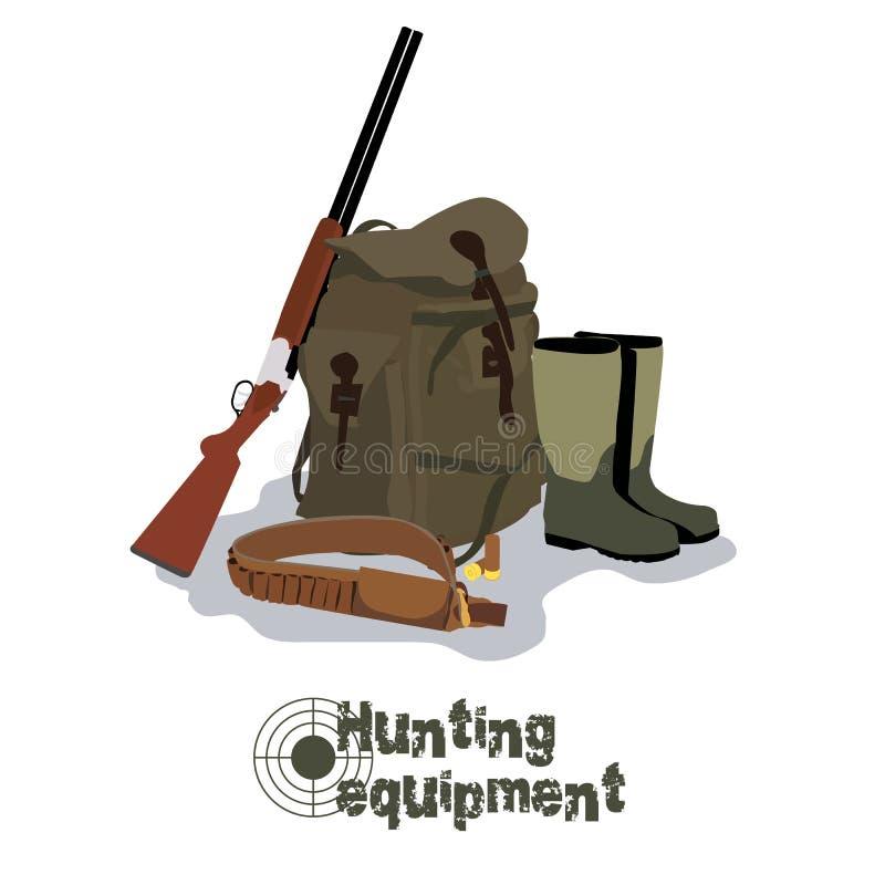 Σύνολο στρατιωτικού εξοπλισμού κυνηγιού με το τουφέκι διανυσματική απεικόνιση