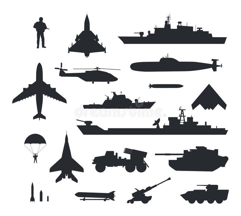 Σύνολο στρατιωτικών διανυσματικών σκιαγραφιών εξοπλισμών διανυσματική απεικόνιση