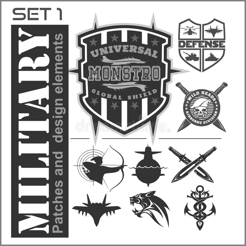 Σύνολο στρατιωτικών λογότυπων μπαλωμάτων, διακριτικά και στοιχεία σχεδίου Γραφικό πρότυπο διανυσματική απεικόνιση
