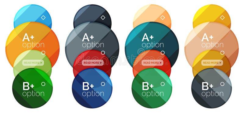 Σύνολο στρογγυλού προτύπου διαγραμμάτων επιλογής για τα στοιχεία ή τις επιλογές σας διανυσματική απεικόνιση