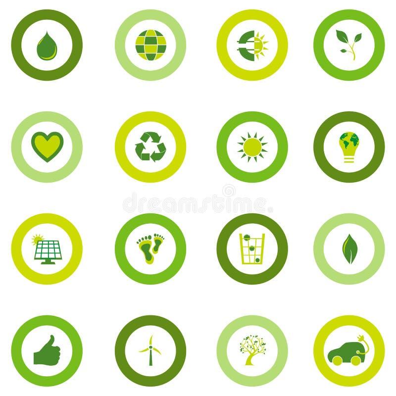 Σύνολο στρογγυλών εικονιδίων που γεμίζουν με τα βιο περιβαλλοντικά σύμβολα eco απεικόνιση αποθεμάτων