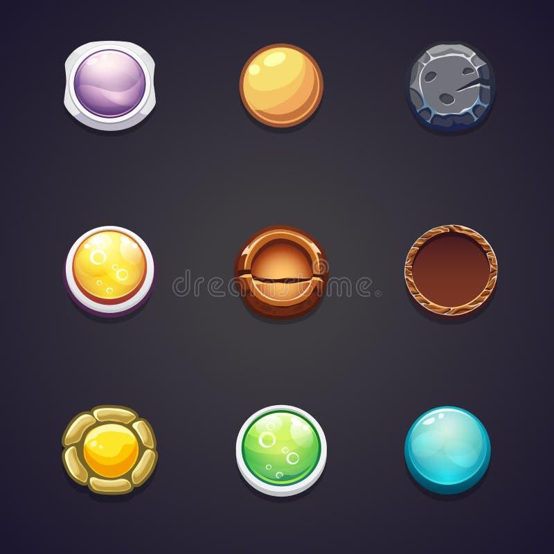 Σύνολο στρογγυλών διαφορετικών υλικών κουμπιών για το σχέδιο Ιστού ελεύθερη απεικόνιση δικαιώματος