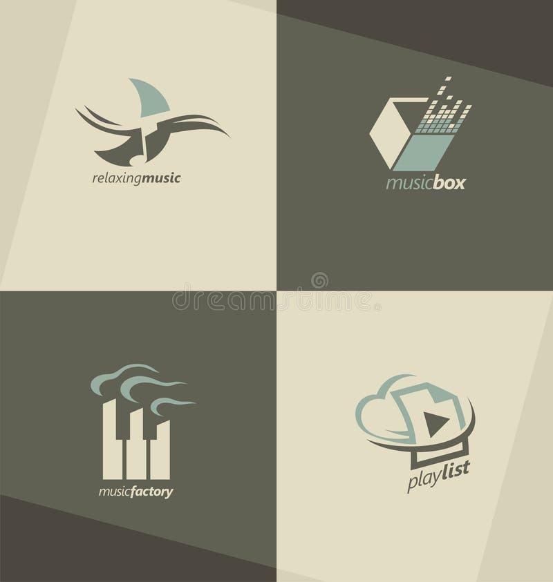 Σύνολο συμβόλων μουσικής, λογότυπων και εικονιδίων ελεύθερη απεικόνιση δικαιώματος