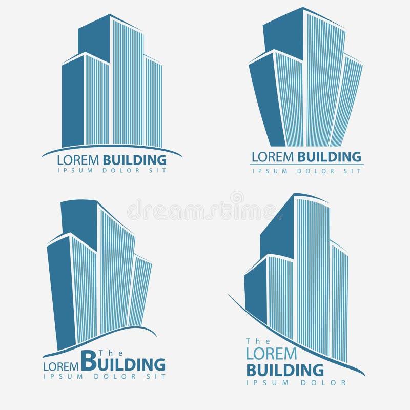 Σύνολο συμβόλων οικοδόμησης, επιχειρησιακή απεικόνιση αρχιτεκτονικής ελεύθερη απεικόνιση δικαιώματος