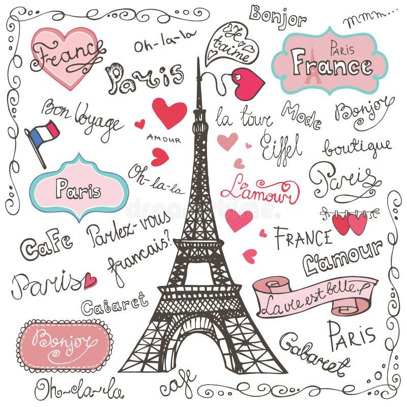 Σύνολο συμβόλων του Παρισιού, εγγραφή Χέρι που σύρεται doodle διανυσματική απεικόνιση