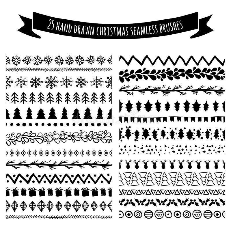 Σύνολο συρμένων χέρι άνευ ραφής βουρτσών doodle, σύνορα, διαιρέτες ISO ελεύθερη απεικόνιση δικαιώματος