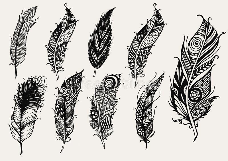 Σύνολο συρμένων χέρι αγροτικών διακοσμητικών φτερών απεικόνιση αποθεμάτων