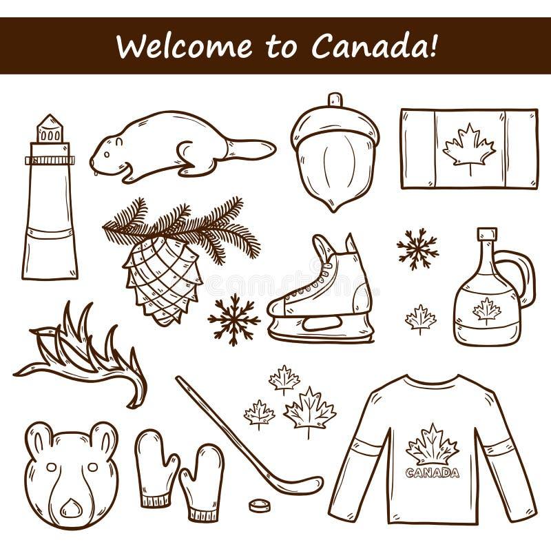 Σύνολο συρμένων χέρι αντικειμένων κινούμενων σχεδίων στο θέμα του Καναδά απεικόνιση αποθεμάτων