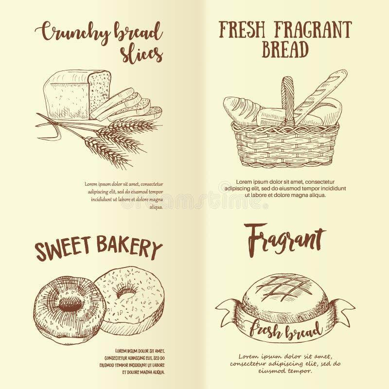 Σύνολο συρμένων χέρι γραφικών ετικετών ψωμιού διανυσματική απεικόνιση