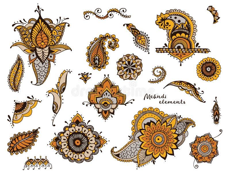 Σύνολο συρμένων χέρι διαφορετικών στοιχείων mehndi Τυποποιημένα λουλούδια, floral, φύλλα, ινδική συλλογή του Paisley ζωηρόχρωμος απεικόνιση αποθεμάτων