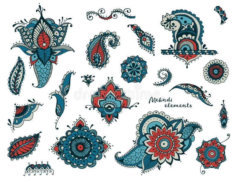 Σύνολο συρμένων χέρι διαφορετικών στοιχείων mehndi Τυποποιημένα λουλούδια, floral, φύλλα, ινδική συλλογή του Paisley ζωηρόχρωμος διανυσματική απεικόνιση