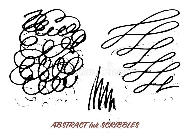 Σύνολο συρμένων χέρι κακογραφιών μανδρών μελανιού swirly απεικόνιση αποθεμάτων