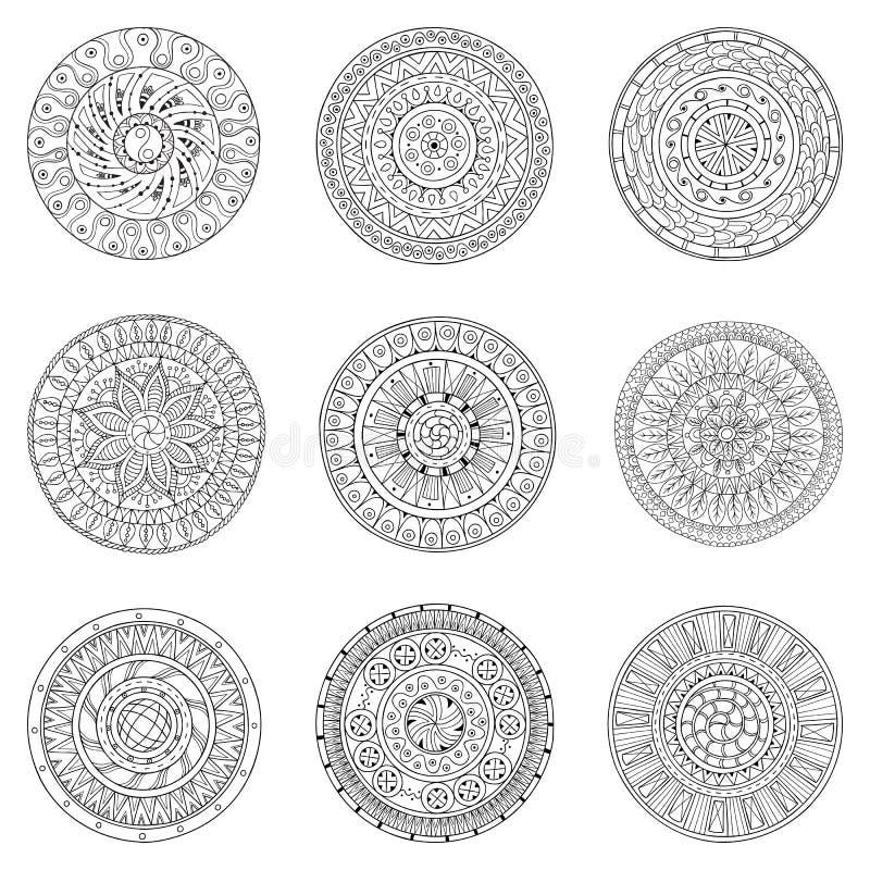 Σύνολο συρμένων χέρι κύκλων, διανυσματικό σχέδιο λογότυπων απεικόνιση αποθεμάτων