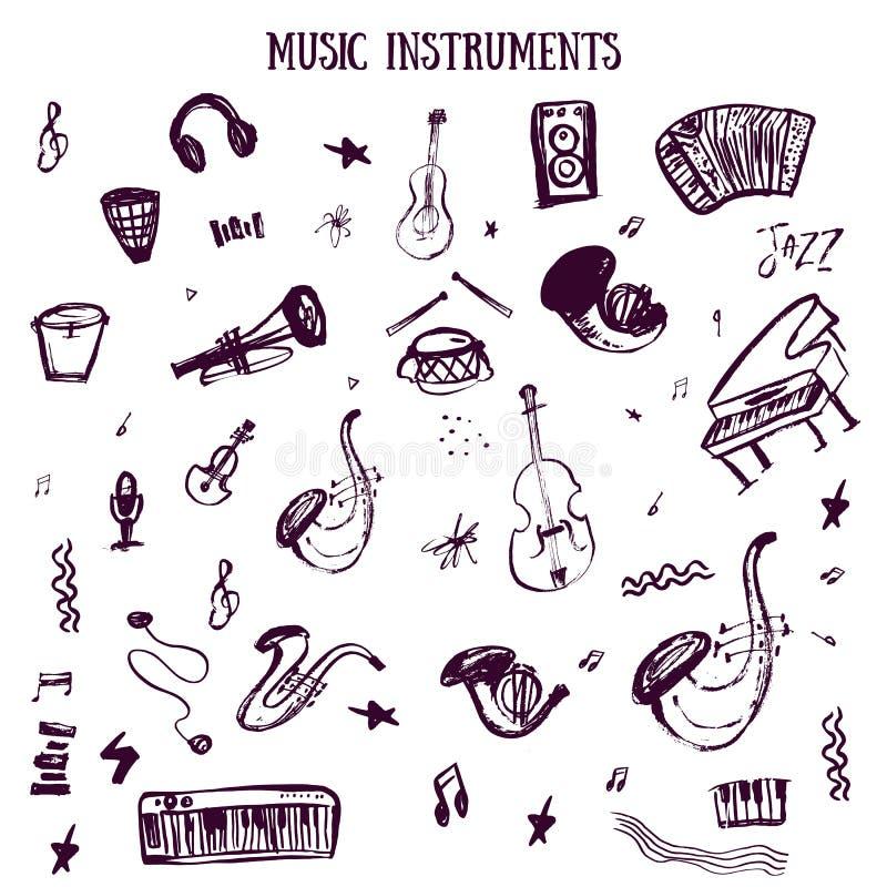 Σύνολο συρμένων χέρι οργάνων μουσικής στο διάνυσμα με την κιθάρα, βράχος, πέρκες Μυστικά στοιχεία Doodle στο τραχύ ύφος απεικόνιση αποθεμάτων