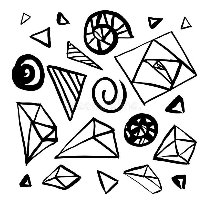 Σύνολο συρμένων χέρι στοιχείων γεωμετρικού σχεδίου απεικόνιση αποθεμάτων