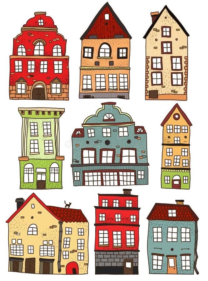 Σύνολο συρμένων χέρι χρωματισμένων κτηρίων διανυσματική απεικόνιση