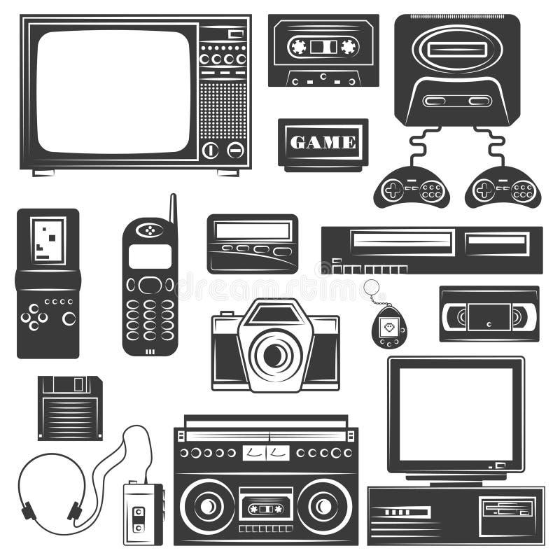 Σύνολο συσκευής των μονοχρωματικών εικονιδίων της δεκαετίας του '90, στοιχεία σχεδίου που απομονώνονται στο άσπρο υπόβαθρο ελεύθερη απεικόνιση δικαιώματος