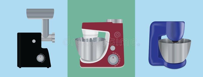 Σύνολο συσκευών κουζινών Ηλεκτρικός αναμίκτης, κρεατομηχανή κρέατος, τρόφιμα υπέρ διανυσματική απεικόνιση