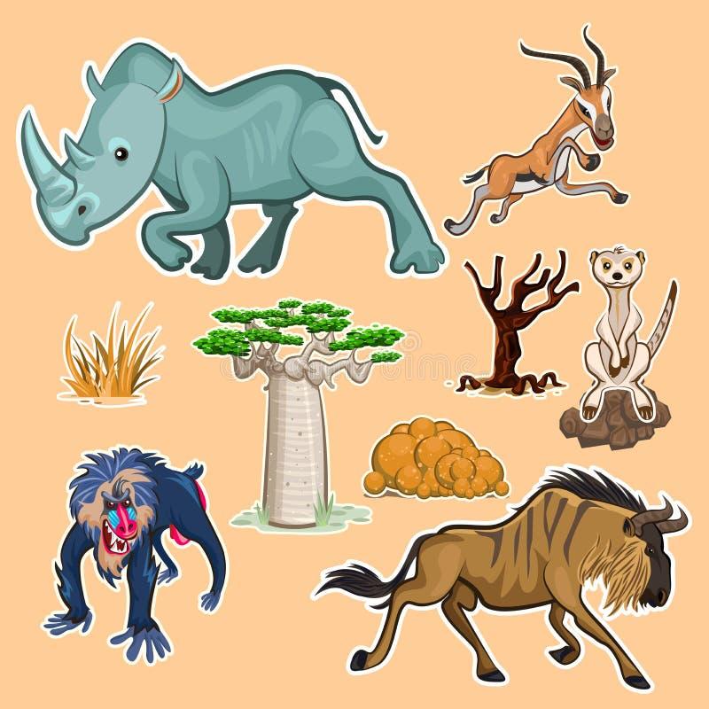 Σύνολο 02 συλλογής ζώων & δέντρων της Αφρικής ελεύθερη απεικόνιση δικαιώματος