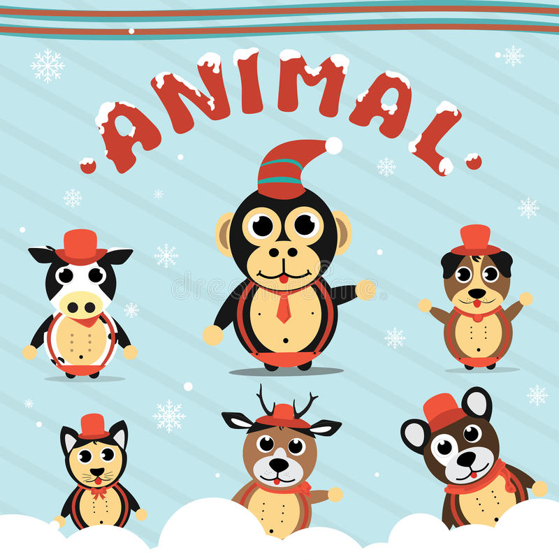 Σύνολο συλλογής ζώων Χριστουγέννων στοκ φωτογραφία με δικαίωμα ελεύθερης χρήσης