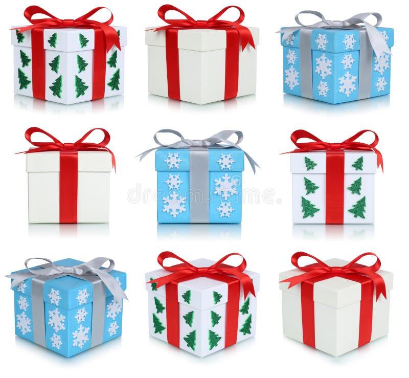 Σύνολο συλλογής κιβωτίων δώρων Χριστουγέννων δώρων που απομονώνεται ελεύθερη απεικόνιση δικαιώματος