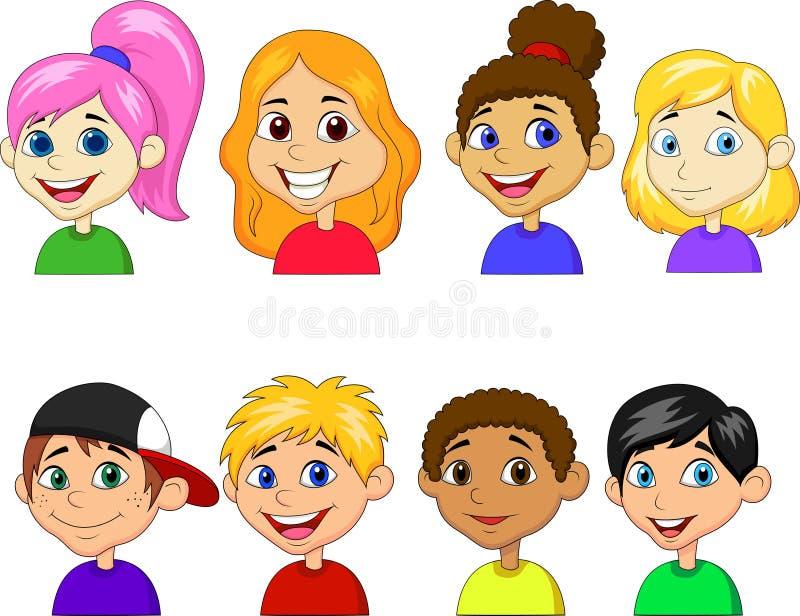 Σύνολο συλλογής κινούμενων σχεδίων αγοριών και κοριτσιών ελεύθερη απεικόνιση δικαιώματος