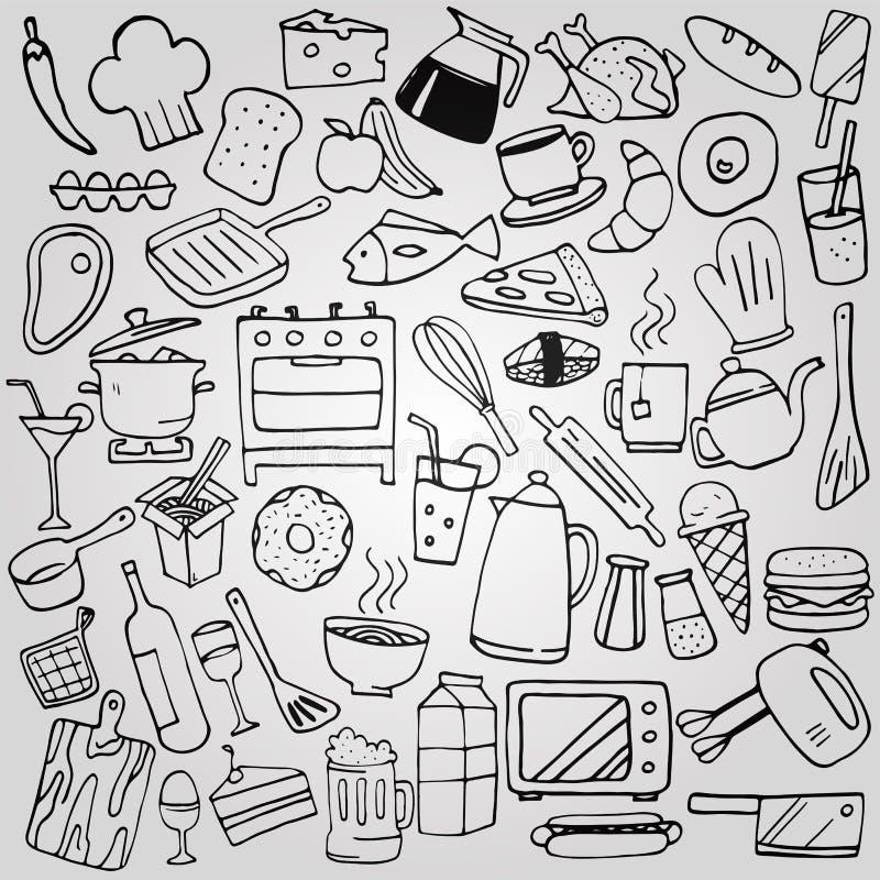 Σύνολο συλλογής κουζινών doodles ελεύθερη απεικόνιση δικαιώματος