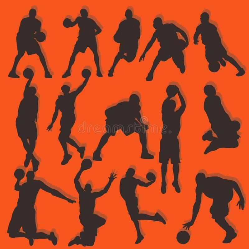 Σύνολο συλλογής δράσης σκιαγραφιών καλαθοσφαίρισης ελεύθερη απεικόνιση δικαιώματος